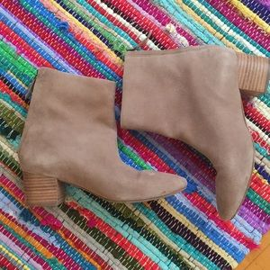 Seychelles suede zip boot, woodblock heel